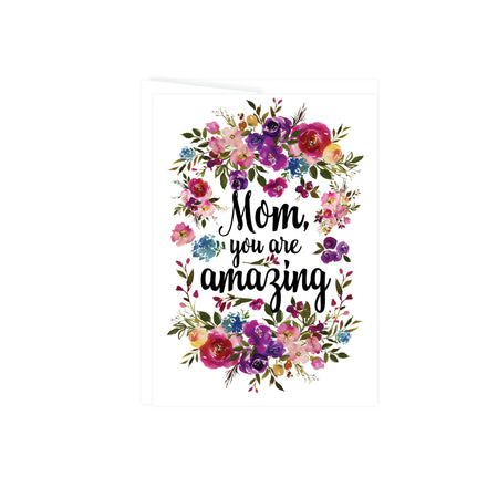 greeting card with text Mom you are amazing surrounded by watercolor flowers in pinks, purples, blues, and greenery, card is blank inside