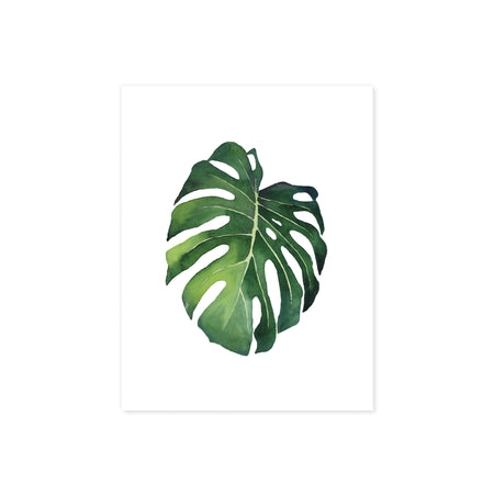 monstera tropical leaf in watercolor printed on matte white paper