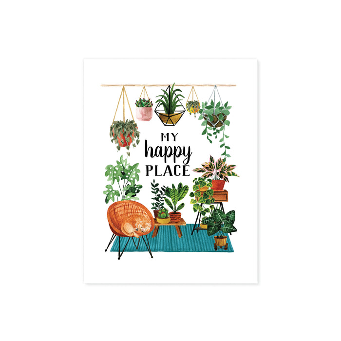 my happy place surrounded by haing plants and plants on a teal blue rug with plant stands and more plants, there is also a wicker chair with a yellow cat curled up sleeping printed on matte white paper