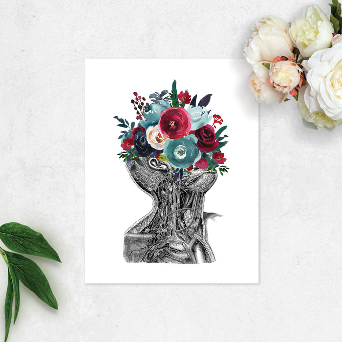 vintage etching of the neck and part of a tilted back head from the ear and chin down showing veins and muscles, the top is adorned with water color flowers in blues and reds printed on matte white paper