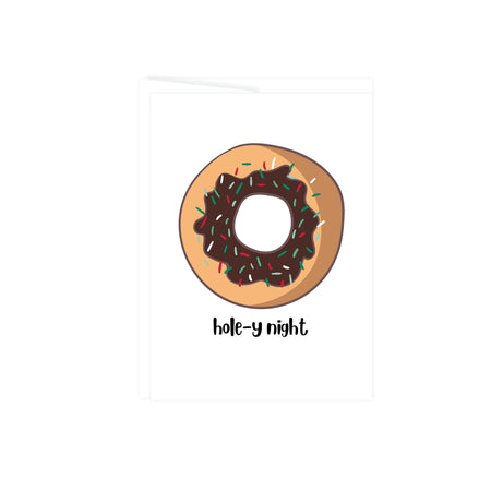 donut with red and green sprinkles with text hole-y night a play on oh holy night, this greeting card is blank inside