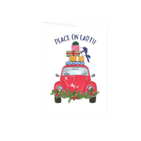 Peace on earth greeting card with a VW Beetle in red with pine garland on the front bumper and a stack of gifts on top, this card is blank inside