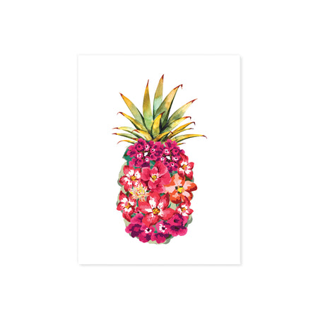 tropical pink watercolor flowers shaped to form a pineapple with a green pineapple top printed on matte white paper