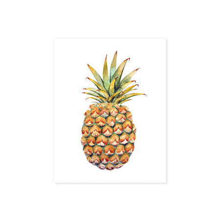 watercolor pineapple printed on matte white paper