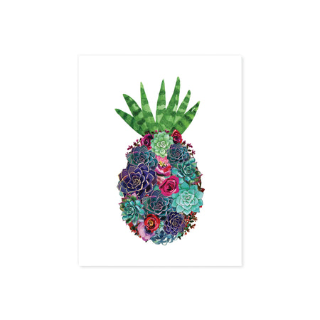 watercolor suculents in greens and purples along with pink and red flowers in the shape of a pineapple with an aloe vera at the top to be the pineapple leaves printed on matte white paper