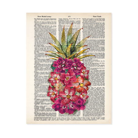 shades of pink watercolor tropical flowers form the shape of a pineapple with traditional pineapple greenery at the top printed on a dictionary page