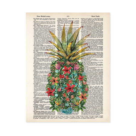 watercolor monstera leaves along with pink, red, peach, and blue flowers along with red and blue shells and coral form a pineapple shape with a traditional pineapple top printed on a dictionary page