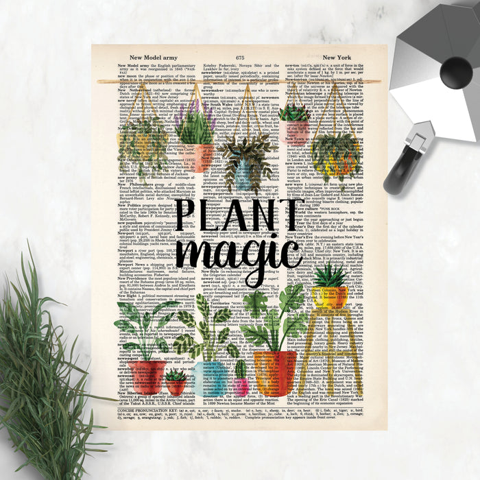 four dictionary prints in one pack include my happy place surrounded by plants, love grows here over a row of potted cactus, bloom where you're planted with cactus with a single flower in a light blue pot, plant magic with a row of hanging plants at the top and potted plants at the bottom, all watercolor and printed on four different dictionary pages