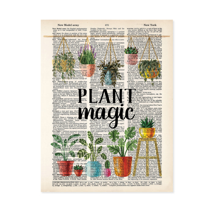 five different potted hanging plants hanging from a bamboo pole with the words plant magic under and six different potted plants under all in watercolors printed on dictionary page