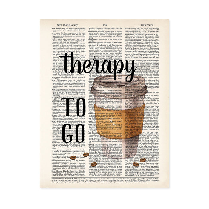 therapy to go with a take out coffee cup with coffee beans scattered at the bottom printed on dictionary page