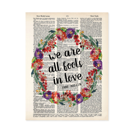 we are all fools in love Jane Austen quote surrounded by a watercolor wreath in purple, red, and green colors printed on a dictionary page