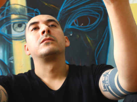 Cifuentes with his artwork titled You Are Light