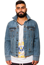 Load image into Gallery viewer, BFC DENIM JACKET | DISTRESSED INDIGO