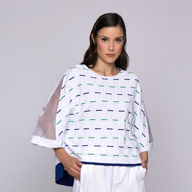 THREE-DIMENSIONAL COTTON AND SILK OVERSIZE SWEATER/MAGLIA OVER IN COTONE E SETA LAVORAZIONE TRIDIMENSIONALE
