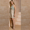 SILK BLEND DRESS WITH SHADED FRINGE / ABITO MISTO SETA CON FRANGIA SFUMATA