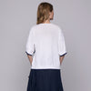 ASYMMETRIC COTTON SWEATER WITH MACRAME 'EMBROIDERY / MAGLIA ASIMMETRICA IN COTONE CON RICAMO MACRAME'