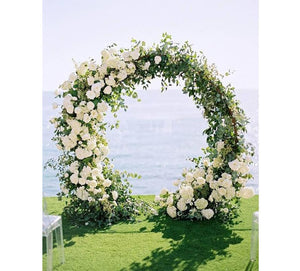 Outdoor Wedding Double Ring Passable Arch in Gold, Black and White