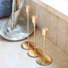 Load image into Gallery viewer, Modern Gold Taper Candlestick Holders