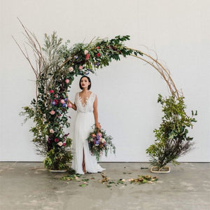 Double Gold Metal Passable Wedding Arch