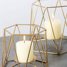 Load image into Gallery viewer, Nordic Gold Geometric Candle Holders