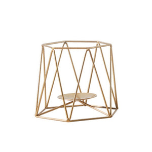 Nordic Gold Geometric Candle Holders