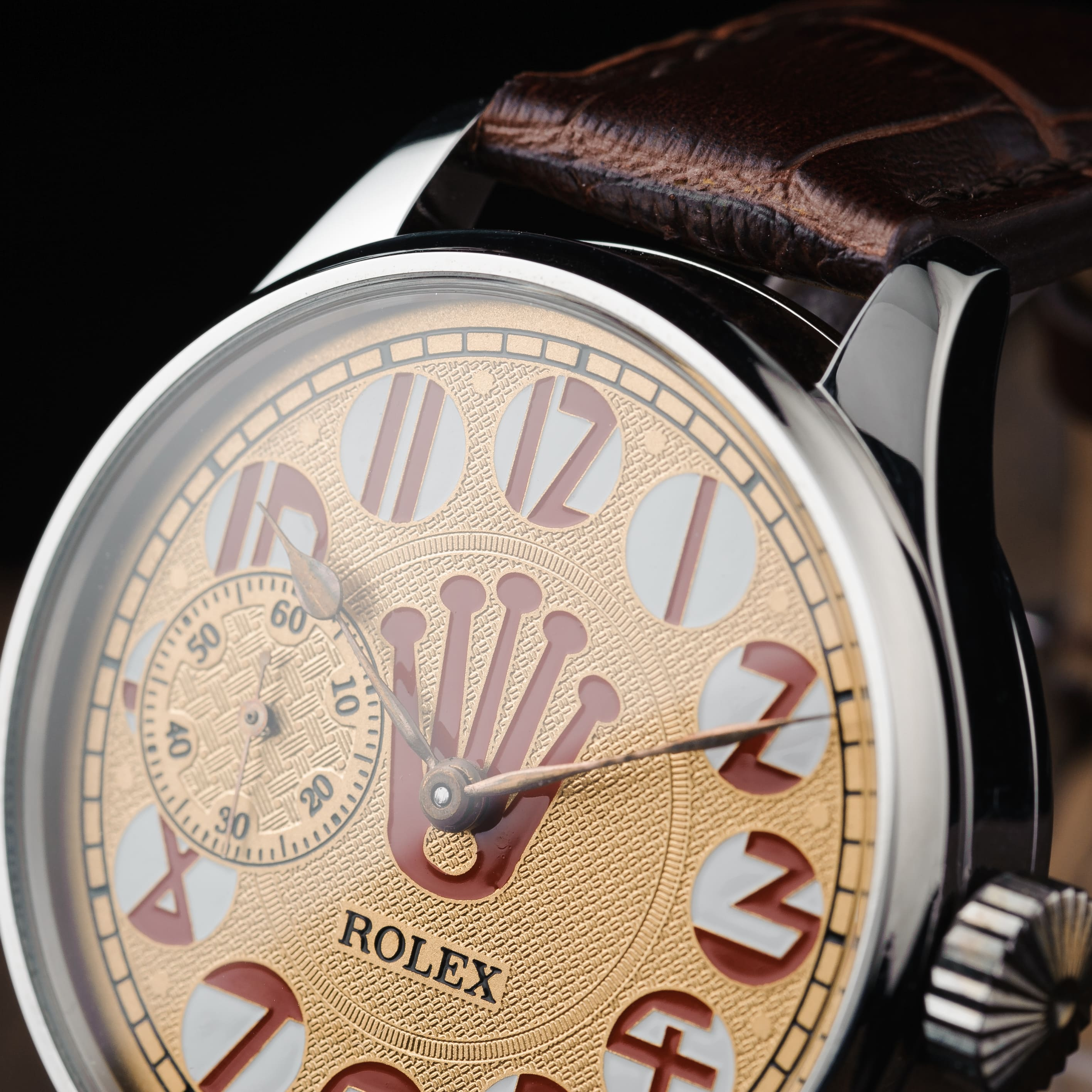 Rolex orange clock Movement: original, mechanical strap is 22 mm Case diameter without crown 48 mm.