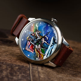 Art hand painting  clock USSR mechanical Case: original+modern