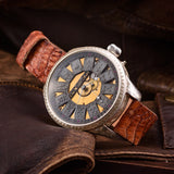 Brand Watch PATEK PHILIPPE New Silver Case Pocket Mechanism 1894 years Wristwatches Brown Leather Crocodile