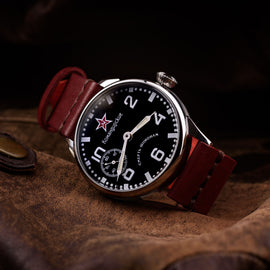 Steel USSR Molnija - Red Star hours, minutes, seconds, backlight