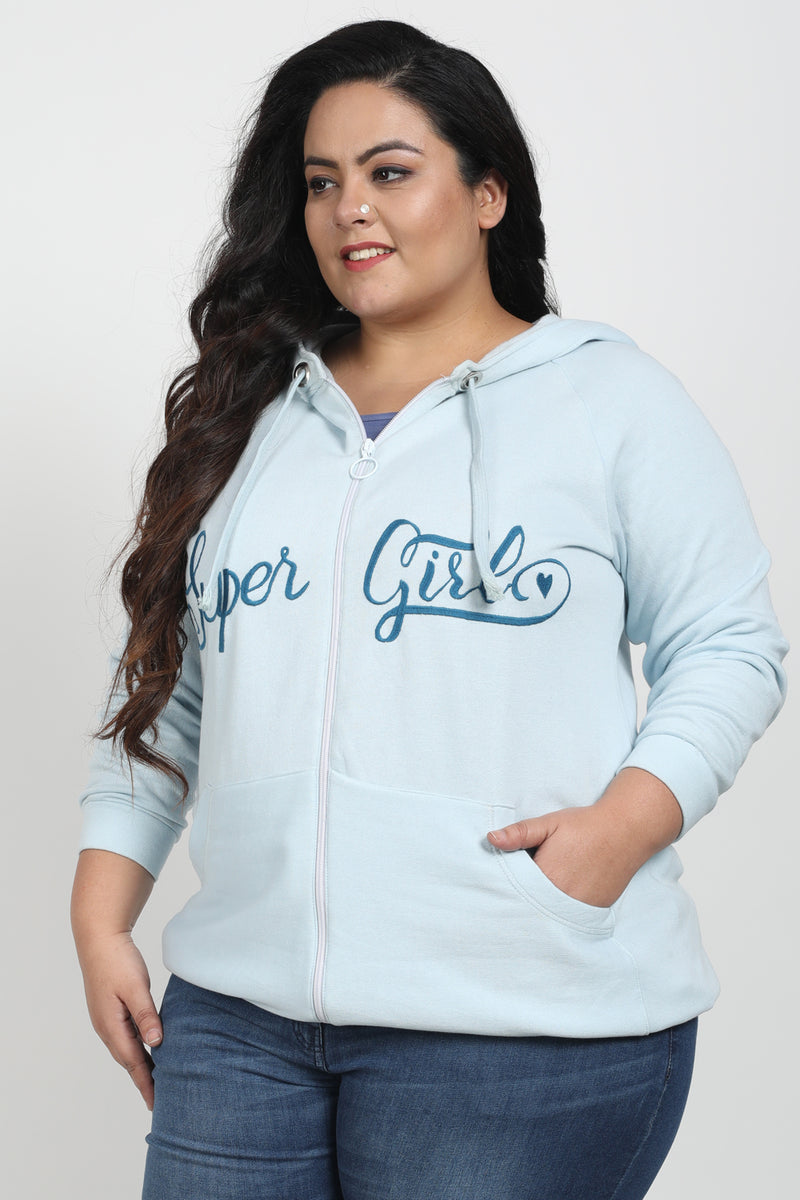 Aqua Embroidered Sweatshirt