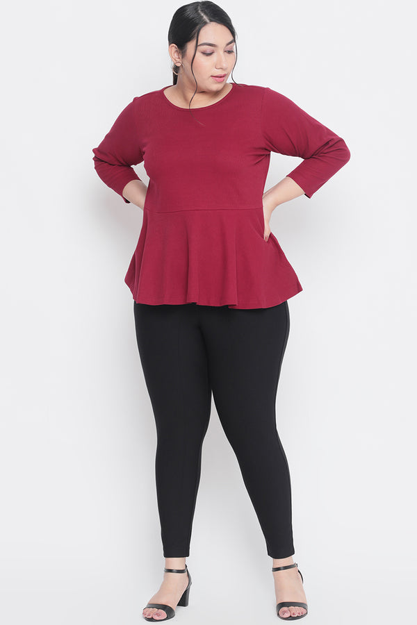 Maroon Autumn Peplum Top