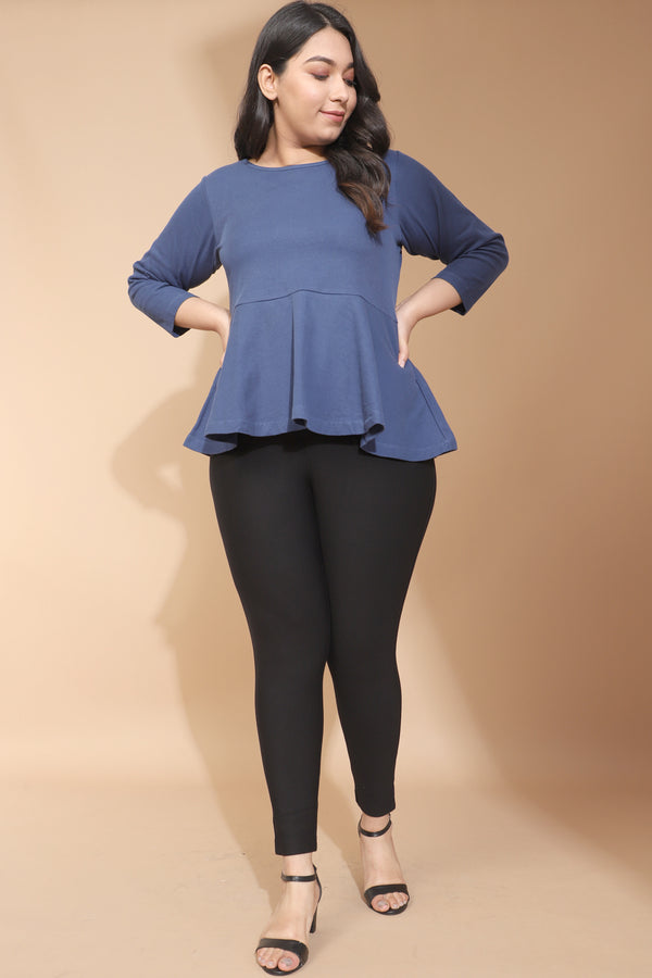 Teal Autumn Peplum Top