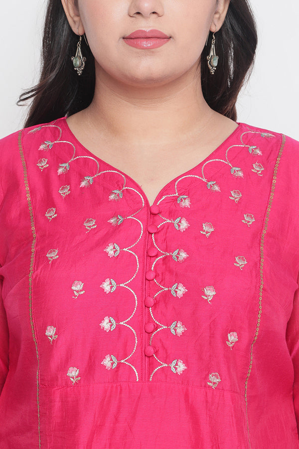 Persian Pink Chanderi Three Piece Suit Set