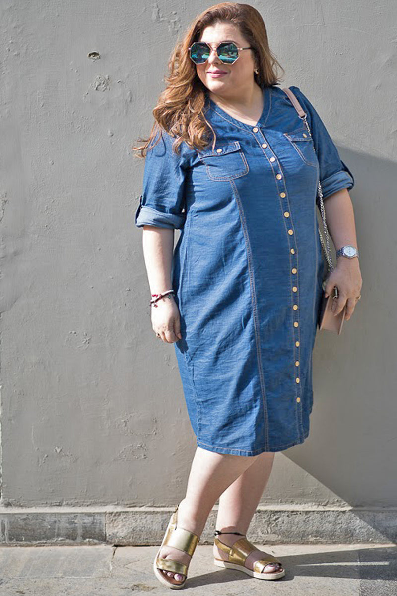 Denim Princess Seam Detailing Dress