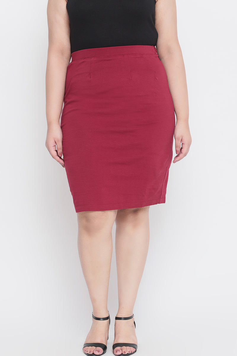 Maroon Formal Pencil Skirt