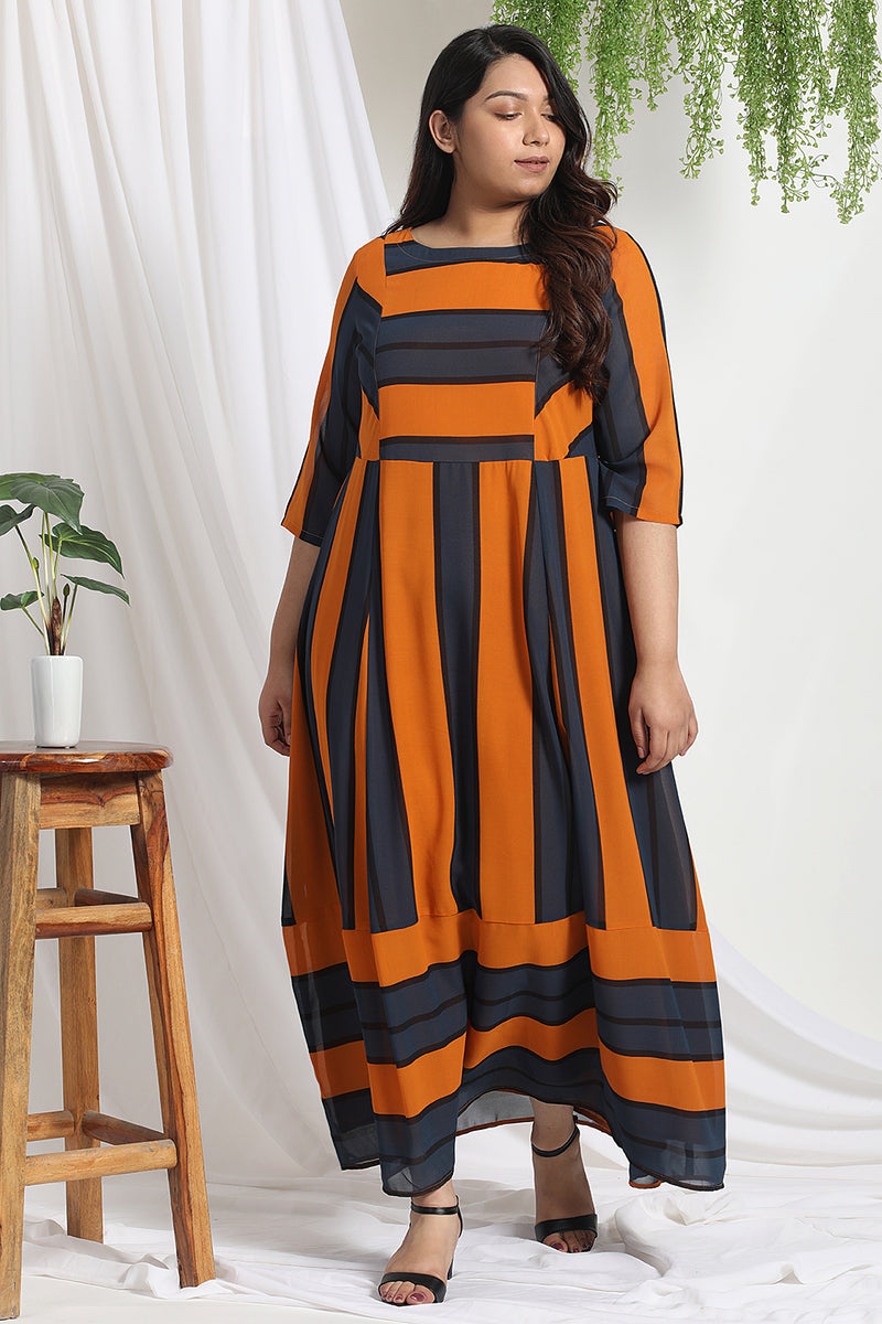 Yellow Teal Stripe Maxi Dress