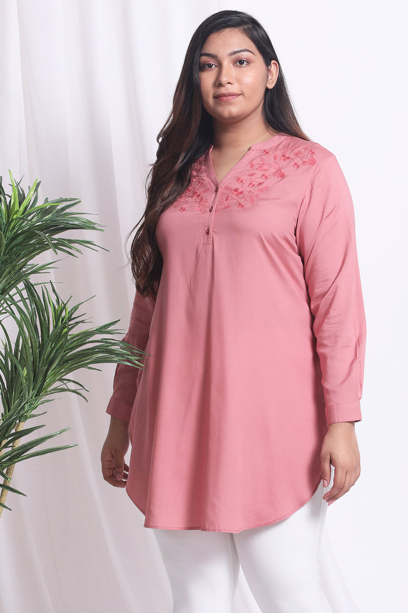 Dark Rose Embroidered Front Placket Tunic