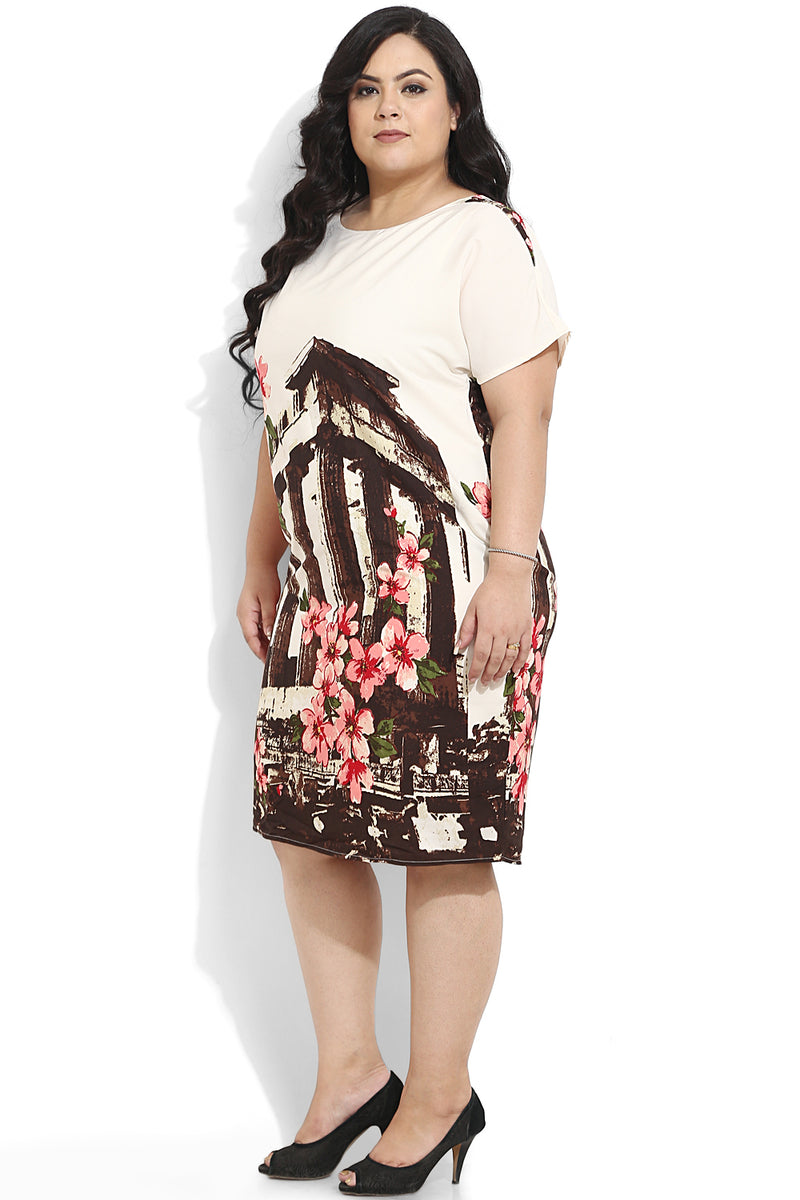 Cream Floral Printed Shift Dress