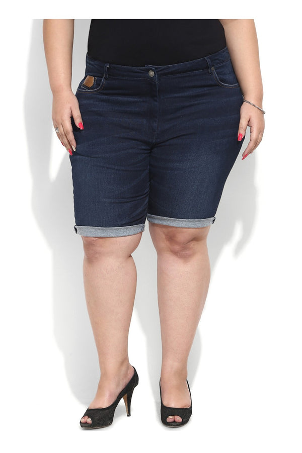 Navy Rubbing Wash Denim Shorts