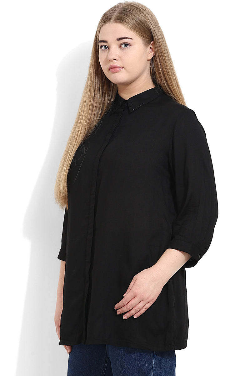 Black Concealed Placket Shirt With Stud Detailing