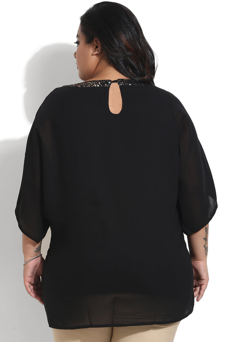 Black Sequin Drop Sleeves Top