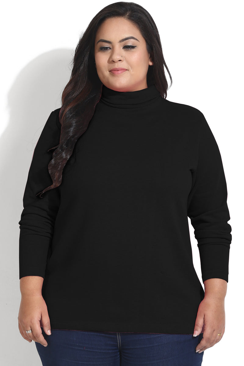Black Essential High Neck Top