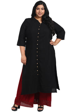 Black Mandarin Collar Front Open Kurti