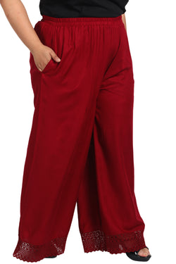 Maroon Bottom Lace Palazzo Pants