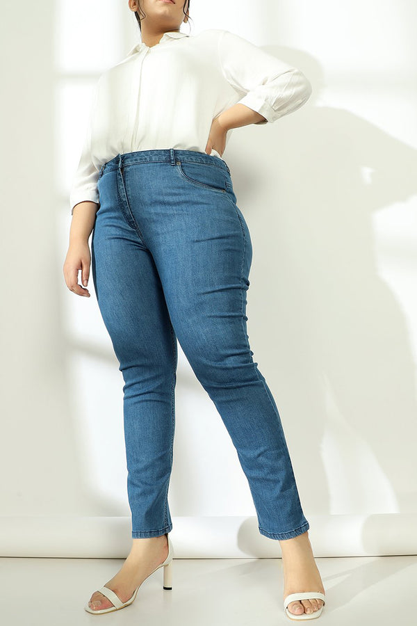 Mid Blue Plain Wonder Fit Denims
