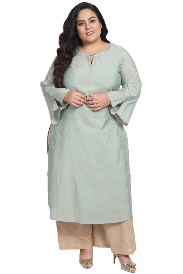 Menthe Green Golden Detail Bell Sleeve Kurti