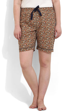 Brown Floral Boxer Shorts