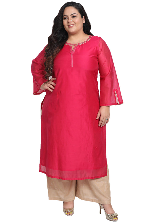 Persian Red Golden Detail Bell Sleeve Kurti
