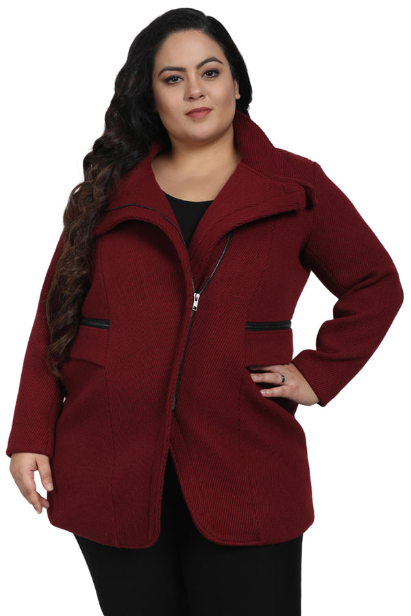Maroon Zip Closure Jacket