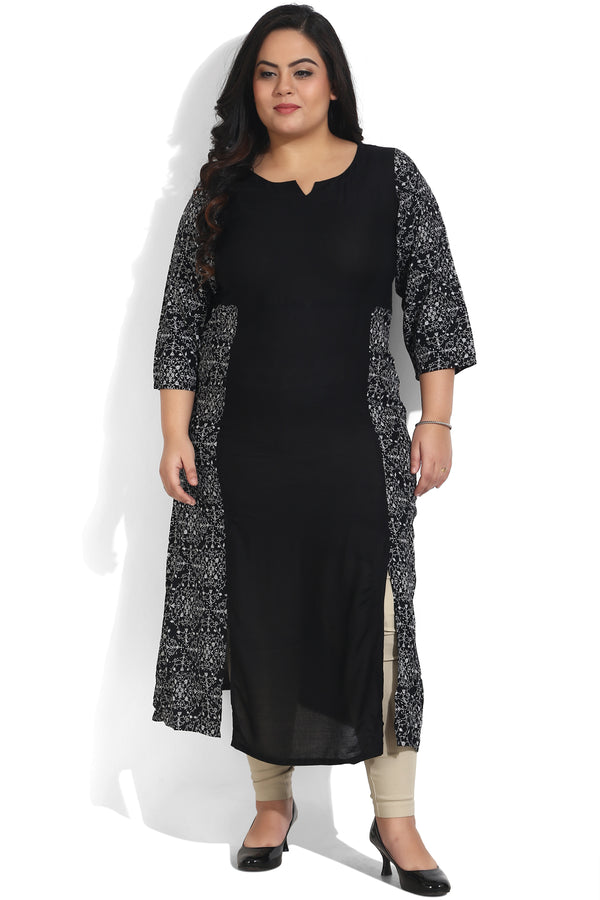 Black Printed Front Aligned Side Slit Color Block Kurti